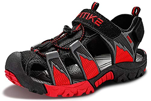 Littleplum Kids Sandals Boys Summer Closed-Toe Beach Outdoor Sport Water Sandals for Boys Girls Quick-Drying Upper Mesh Big_Kid Size 5 Black/Red