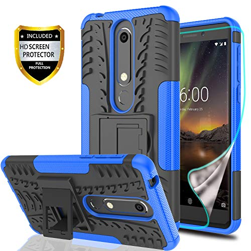 YmhxcY Nokia 6.1 Phone Case,Nokia 6 2018 Case with HD Screen Protector,Military Armor Drop Tested [Heavy Duty] Hybrid Case with Kickstand for Nokia 6 (2018)-LT Blue