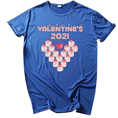 YANFANG Camisetas Mujer Manga Corta Baratas,Camisa de Manga Corta con Cuello Redondo y Estampado de San Valentín de Moda para Mujer Camisetas, Tops y Blusas