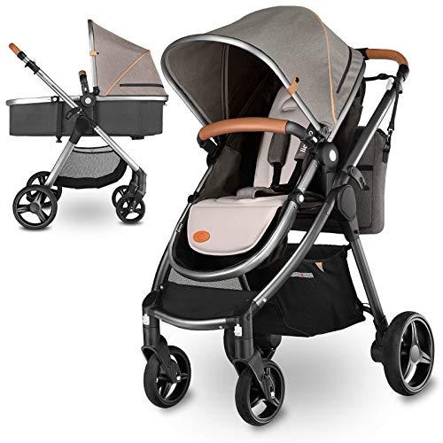 Lionelo Greet Kombikinderwagen 2 in 1 Baby Kinderwagen Buggy Komplettset mit soft Babywanne verstellbare Rückenlehne Elterntasche Moskitonetz Universaladapter