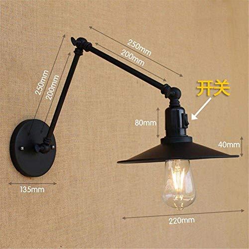 Meixian wandlamp met lange mouwen dubbele zwarte halters met schakelaar arm lengte 20 + 20 cm eenvoudig retro