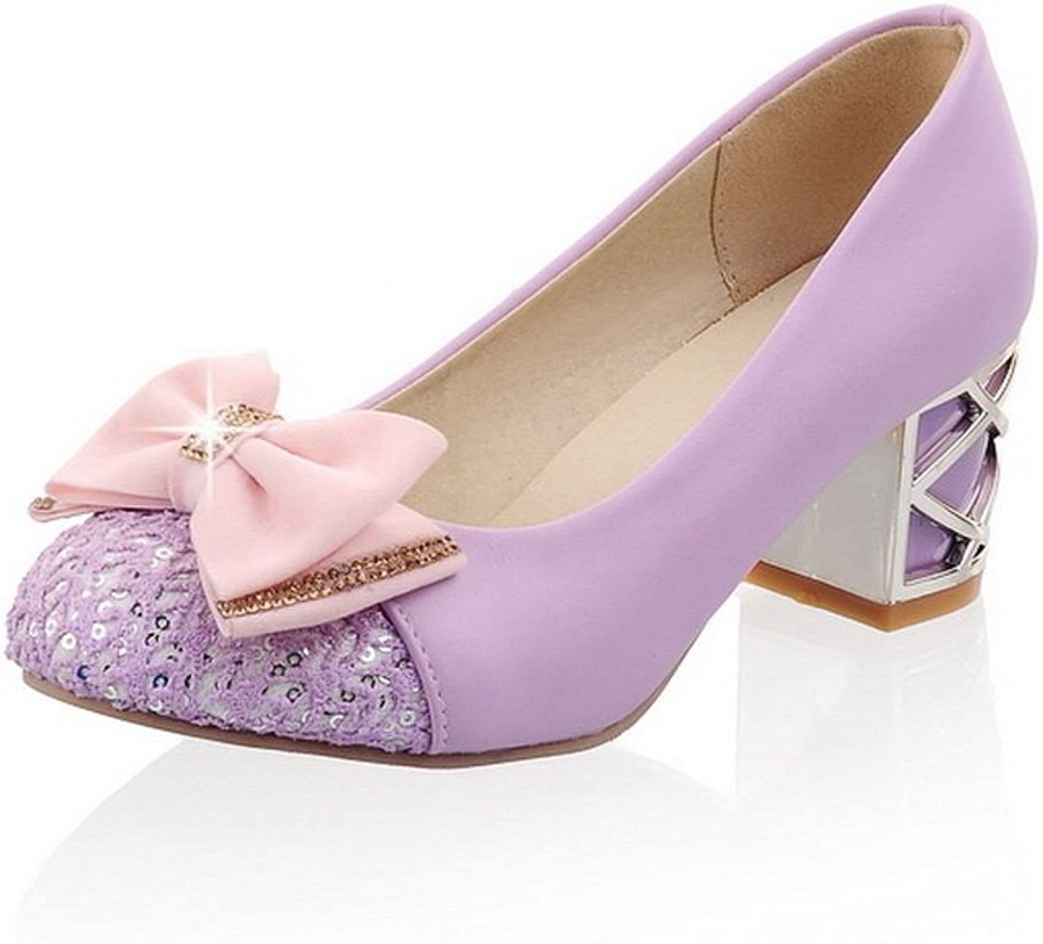 BalaMasa Ladies Bows Chunky Heels Low-Cut Uppers Urethane Pumps shoes
