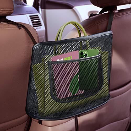 Fekey&JF Car Net Pocket Handbag Holder,Car Mesh Organizer, Seat Back Net Bag,Barrier of Backseat Pet Kids, Cargo Tissue Purse...