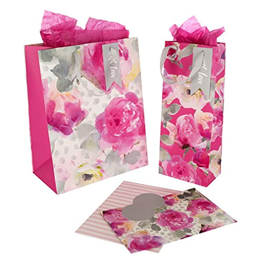 Floral Bag & Wrap Bundle 'Pink' - Pack of 2 Bags, 2 Wrap, 2 Tags & 3 Tissue