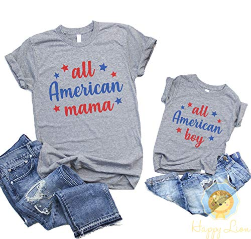 Happy Lion Clothing - 4th of July Shirt All American Boy, or Mommy and Me Matching Shirts All American Mama for Mom and Son