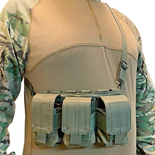 Strike Hard Gear Triple Molle Pouch Bandolier for Shorter Magazines and Clips - SKS, M1 Carbine, AR 20 Round, 308, Archangel and More (OD Green)