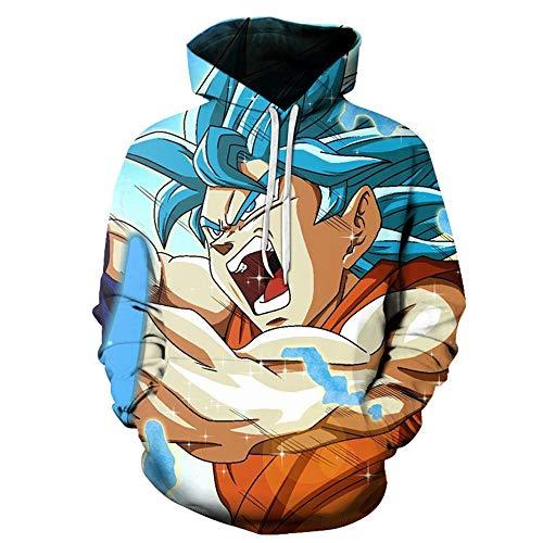 TLLW - Sudadera con capucha unisex con diseño de bola de dragón 3D, unisex, con bolsillos, divertida sudadera S-6XL F002 XL