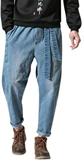 Dainzuy Denim Pants for Men Fashion Casual Personality Style Tapered Leg Harem Jogger Jeans Denim Pants