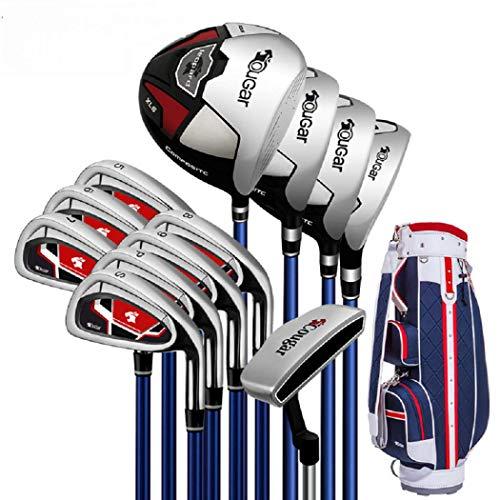 AYES Herren Golfschläger-Set Junior Golfschläger-Set mit Titan-Treiber, Fairway-Holz, Hybrid, Eisen, Putter, Standtasche (12 Stahlschäfte Standard-Paket)