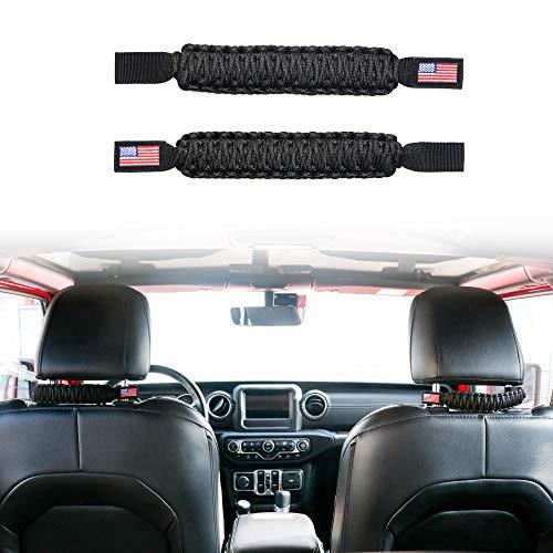 Front Headrest Grab Handle Universal for Auto Car, Trucks, Sports Car, Rear Seat Grab Handle for Jeep Wrangler YJ TJ JK JKU JL JLU Sports Sahara & Jeep Gladiator JT, ATV, UTV, Black, Flag 1Pair