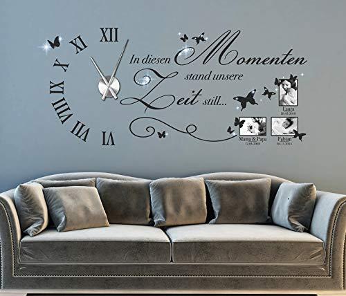tjapalo® s-pkm477 Wanduhr Wandtattoo Uhr Wohnzimmer Wandsticker Spruch in diesen Momenten mit Kristallen Uhrwerk Namen u Datum