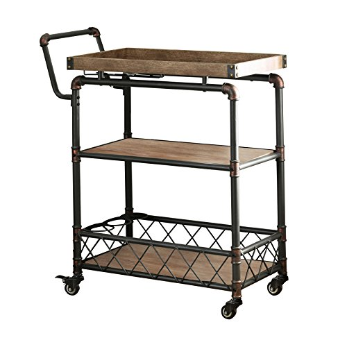 HOMES: Inside + Out Antique Black Deon Industrial Serving Cart