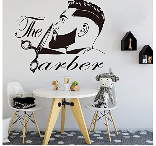 Diy Extraíble Cita Vinilo Barbería Hombres Barba Peinado Salón Pegatinas De Pared Cartel Para La Tienda De Oficina Kids Nursery Escritorio Decoración Dormitorio Mural Pvc 68X56Cm