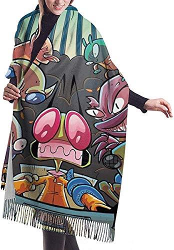 Übergroße Invader Zim Damen Fringe Schal Winter Warm Fashion Cashmere elegante Decke für Damen 7727in