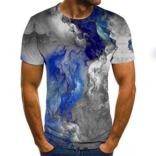 HUITAILANG Camisetas Hombre Gráfico 3D, Camisetas Divertidas, Tinta, Manga Corta Talla Grande Suelta, Gris, Grande