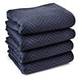 Sure-Max 4 Moving & Packing Blankets - Pro Economy - 80' x 72' (35 lb/dz weight) - Professional Quilted Shipping Furniture Pads Navy Blue and Black