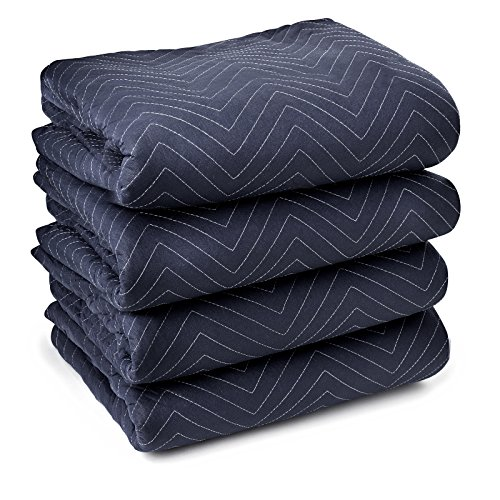 """Sure-Max 4 Moving & Packing Blankets - Pro Economy - 80"""" x 72"""" (35 lb/dz weight) - Professional Quilted Shipping Furniture Pads Navy Blue and Black"""