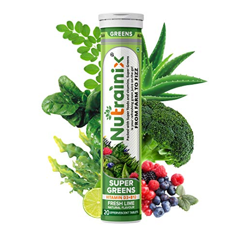 Nutrainix Super Greens, Wholefood Multivitamin for Immunity and Detox with 39+ Organic Certified Plant Superfoods and Antioxidant Supplements – 20 Effervescent Tablets- Fresh Lime Natural Flavour