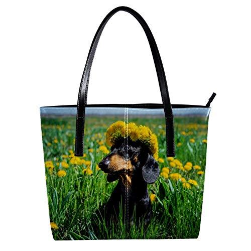 TIZORAX Pusteblume Girlande Dackel Hund im Feld Damen PU Leder Mode Handtasche Schultertasche Tragetasche Geldbeutel