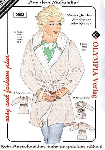 Olympia Creativ-Schnittmuster Vario Jacke mit Kapuze oder Kragen Größe 44-46 (0903)