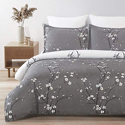 YEPINS Soft Brushed Microfiber Duvet Cover Set with Zipper Closure and Corner Ties, Tree Branch Printed Pattern, Dark Grey and White Color, Reversible Design- Double Size(200x200CM)