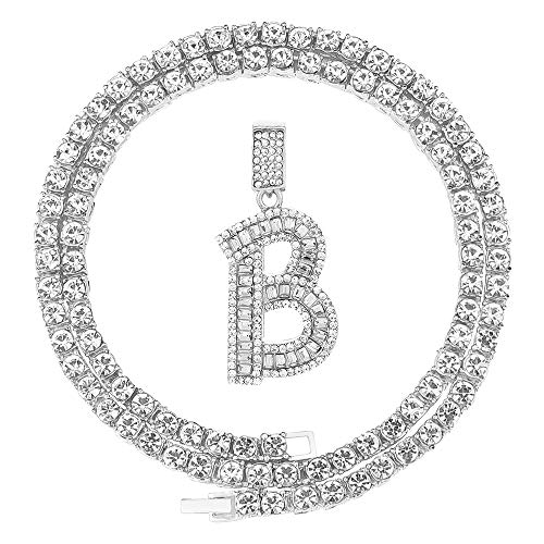 Bling Silver Gold Baguette Initial Letter Necklaces for Men Women Iced Out Diamond Pendant Tennis Chains Hip Hop A-Z 22 Inch (B-Silver, & Tennis)