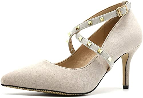 Zapatos De Tacón Moda Femenina Y Americana De Gamuza De 8 Cm Puntiaguda Sexy Discoteca Tacones Altos Tachonados