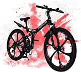 24in Folding Mountain Bike, 21 Speed Bicycle Full Suspension Carbon Steel Bicycle for Adults Disc Brake Outdoor Bikes for Men Women