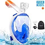 MOSFiATA Full Face Snorkeling Mask, Snorkel Mask 180° Seaview for Kids, Easy Breathing