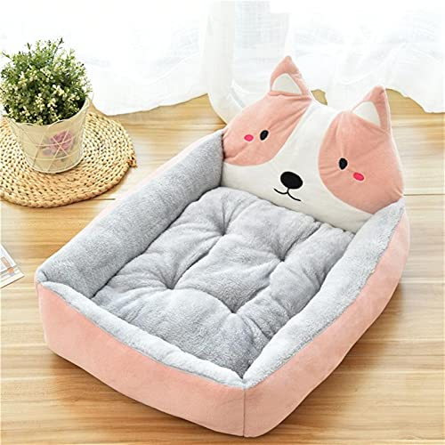 JSJJAUJ Haustierbett Cartoon Haustier Bett weiche Kennel Winter warmes Haustierbedarf Haus für Katzen-Mat-Bett für kleine mittelgroße Hunde-Verdicken Liege-Sofa (Color : 3, Size : S)