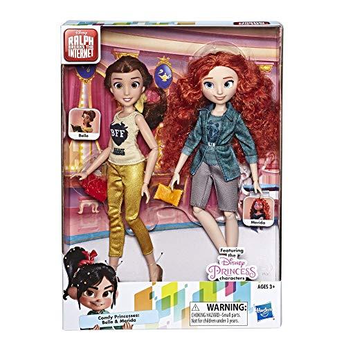 Disney Prinzessinnen Comfy Squad Belle und Merida, Puppen zum Film Chaos im Netz mit Freizeit-Outfit und Zubehör