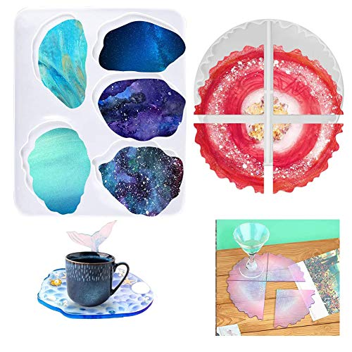 Resin Moulds 9-Style Epoxy Resin Coaster Mould Eco-Friendly Sturdy Silicone Mold for Craft Art Jewellery DIY Coasters Cup Mat Bowl Mat Home Decoration
