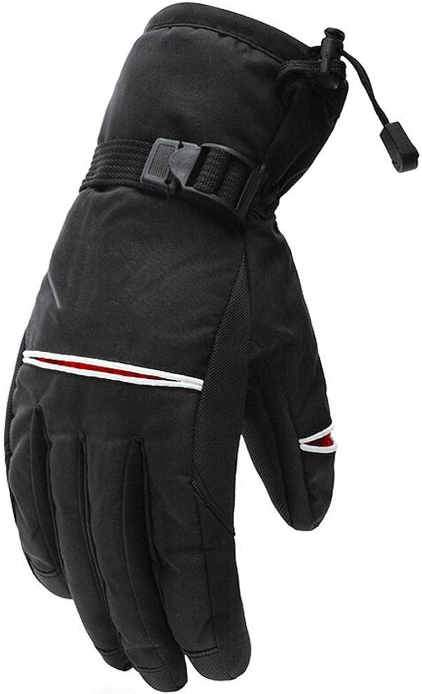 QARYYQ Winter Herren Skischuhe Dicke Warme Winter Outdoor Reiten Wandern Wasserdicht Winddicht Anti-Rutsch-Handschuhe Handschuh (Farbe   SCHWARZ)