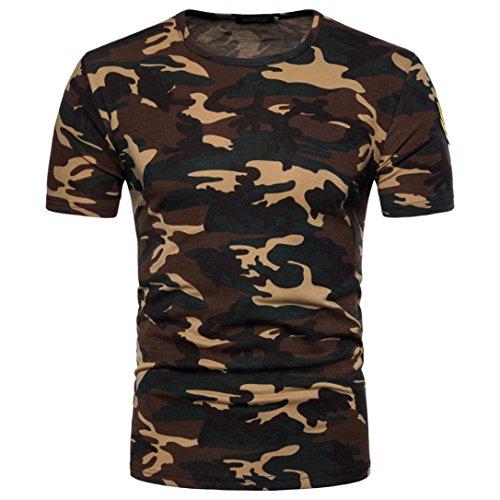 Herren Shirts,Frashing Herren Casual Camouflage Print O-Ausschnitt Pullover T-Shirt Top Bluse Herren T-Shirt mit Rundhalsausschnitt Army Military Bundeswehr T-Shirt (L, Gelb)