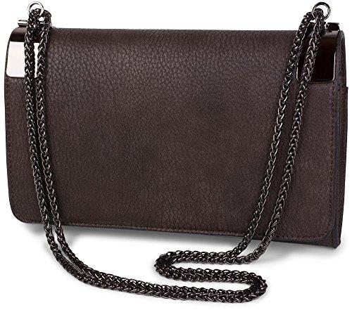 styleBREAKER Clutch, Abendtasche mit Metallspangen und Gliederkette, Vintage Design, Damen 02012046, Farbe:Dunkelbraun
