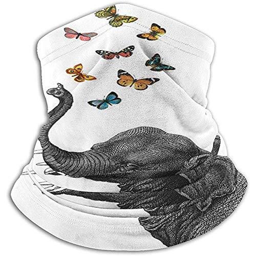 air kong Halstuch Elephant Blowing Butterflies F-Halswärmer Winter Strapazierfähige Reitmaske Leichter und...
