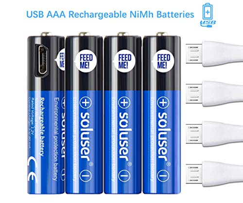 AAA Akku Aufladbare Batterie Soluser 4-er Pack Vorgeladene Ready-to-Use NI-MH Akkubatterien 1,2 Volt 500mAh Wiederaufladbar ohne Memory-Effekt 1200+ Zyklen