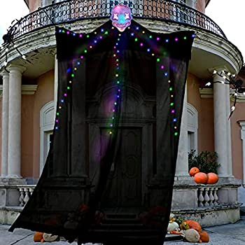 TURNMEON Halloween Decorations Outdoor 10 Ft Hanging Lighted Glowing Ghost Tree Decorations 80 LED Scary Ghosts Spooky Props Indoor Outdoor Patio Garden Gate Yard Halloween Decorations  Colorful