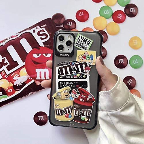 HNZZ Tmrtcgy Nuevo Matte Anti-Fall Chocolate M Funda Soft Silicon Teléfono para 7 8 x XS XR MAX 11 12 Pro Plus CUBIERTE Transparente Linda Coque Funda Coque (Color : B, Size : Iphone12 Pro)
