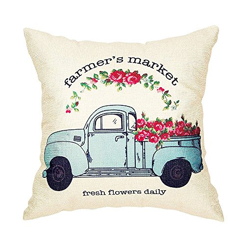 GOOESING Farmer'S Market Fresh Flowers Daily Vintage Truck Watercolor Floral Retro Farmhouse Quote Nice-Looking Pillow Case/Pillow Cover 50% Cotton & 50% Polyester Size 22x22 Inches