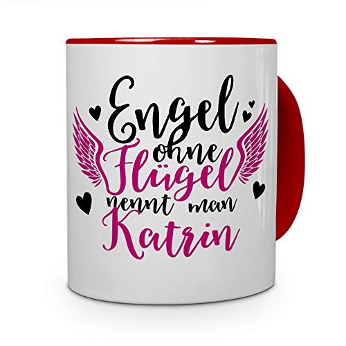 printplanet Tasse mit Namen Katrin - Motiv Engel - Namenstasse, Kaffeebecher, Mug, Becher, Kaffeetasse - Farbe Rot