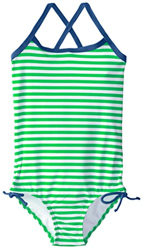 Kanu Surf Girls' Big Beach Sport Banded 1 Piece Swimsuit, Bali Green Stripe, 12