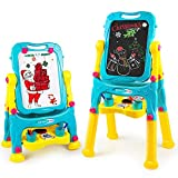Tomons Kids Easel for Two,Adjustable Double Sided Whiteboard & Chalkboard Standing Art Easel for Kids Toddlers Boys Girls
