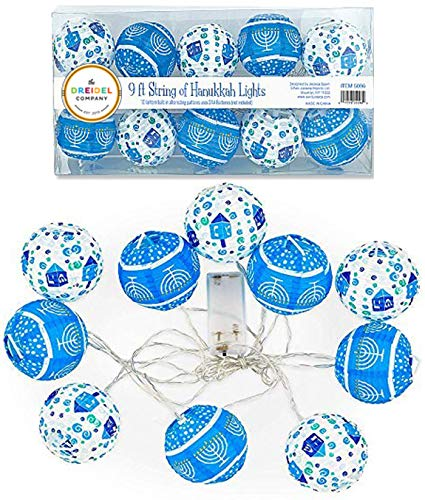 The Dreidel Company 10 Hanukkah LED Battery Powered 3' Mini Round Lantern String Lights… (Single)
