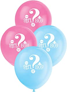 Unique Party Baby Reveal Girl or Boy Latex Balloons, Pink and Blue, 30cm/12, Pack of 8
