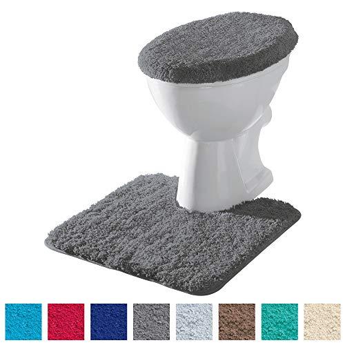 Erwin Müller Stand-WC-Set 2-TLG. Uni, WC-Umrandung, WC-Deckelbezug rutschhemmend anthrazit - ultraweich, extrem saugfähig, flusenarm (weitere Farben)