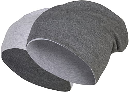 2 in 1 Wendemütze - Reversible Slouch Long Beanie Jersey Baumwolle elastisch Unisex Herren Damen Mütze Heather in 24 (8) (Dark Grey/Light Grey)