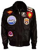 LP-FACON Tom Cruise Top Gun Maverick A2 Fliegerjacke aus Pelz Shearling Braun Bomber Lederjacke Gr....