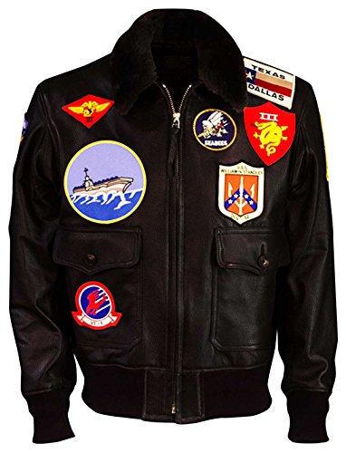 LP-FACON Tom Cruise Top Gun Maverick A2 Flight Aviator Fur Shearling Marrón Bomber Chaqueta de cuero