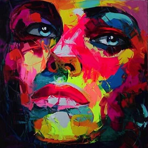 yhyxll Francoise Nielly Messer Ölgemälde HD Druck Auf Leinwand Wohnkultur Abbildung Wandbilder Bunte Gesicht Porträt Kunstwerke Ich 50X50 cm